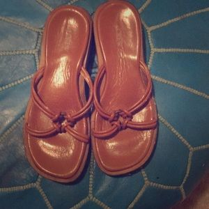 Leather Jcrew slip on sandals sz 8